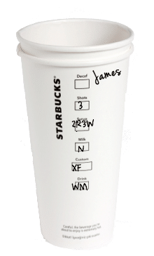 starbucks cup with markings